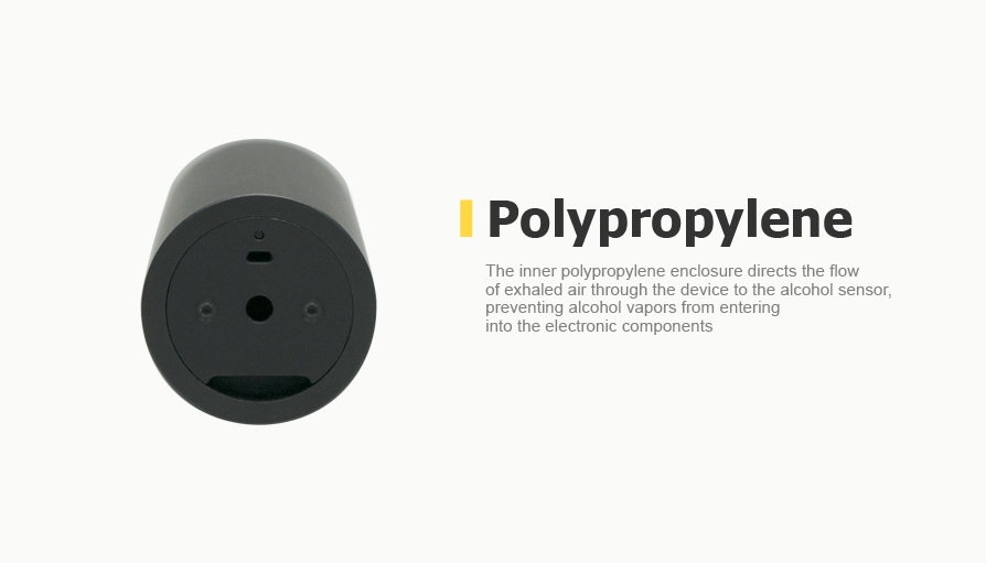 The inner polypropylene enclosure directs the flow of exhaled air through the device to the alcohol sensor, preventing alcohol vapors from entering into the electronic components