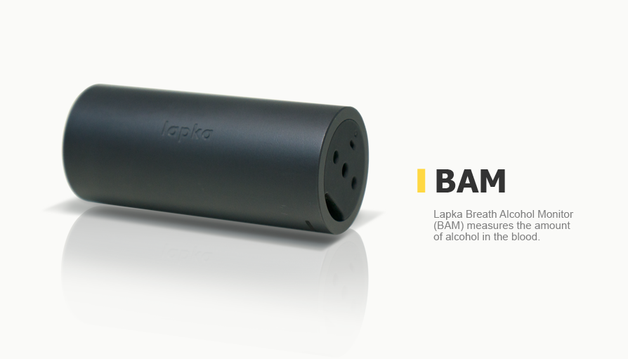 Lapka Breath Alcohol Monitor (BAM) measures the amount of alcohol in the blood.
