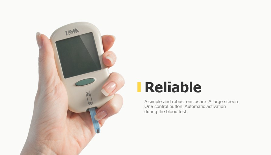A simple and robust enclosure. A large screen. One control button. Automatic activation during the blood test.