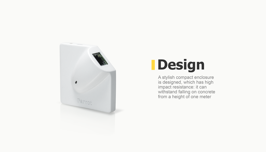 A stylish compact enclosure is designed, which has high impact resistance