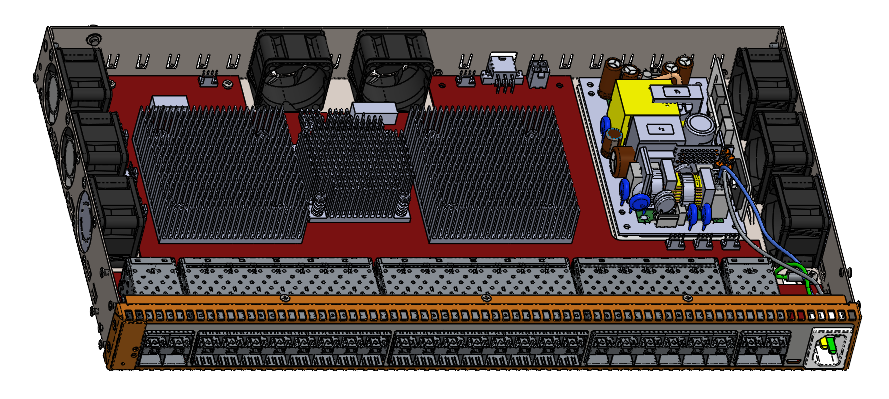 Cooling system: 8 fans and 3 aluminium heat sinks