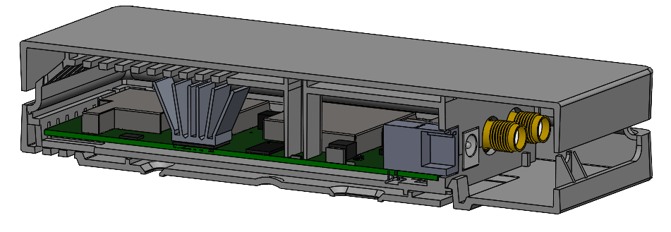 A device with a double enclosure, assembled