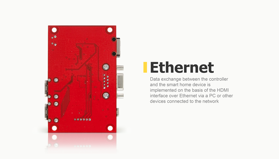 Data exchange between the controller and the smart home device is implemented on the basis of the HDMI interface over Ethernet via a PC or other devices connected to the network