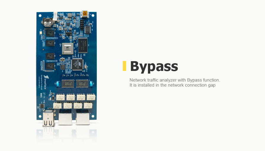 Network traffic analyzer with Bypass function. It is installed in the network connection gap